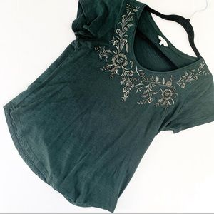 Lucky Brand Embroidered Beaded  Basic T Shirt
